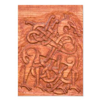 Viking wood carving card