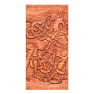 Viking wood carving custom photo card