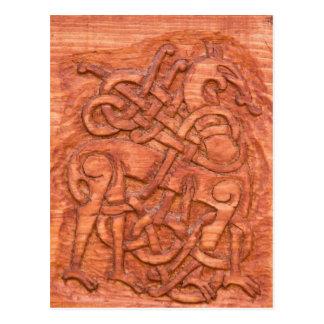 Viking wood carving postcard