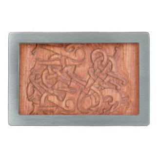 Viking wood carving rectangular belt buckle