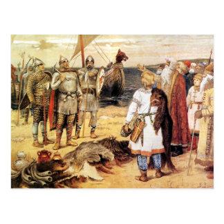Vikingos en la orilla postales