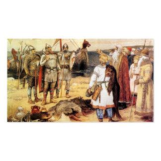 Vikingos en la orilla tarjetas de visita