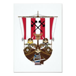 "Vikingos feroces en la tarjeta de Longship RSVP Invitación 3.5"" X 5"""