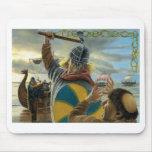 Vikingos que atacan el priorato de Lindisfarne Alfombrillas De Raton