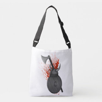 Vikings Axe Shield and Helmut Illustration Crossbody Bag