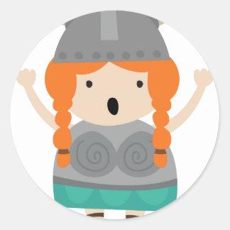 Vikings girl-opera-singer classic round sticker