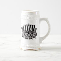 Vikings in Drekar black and white pen ink drawing Beer Stein