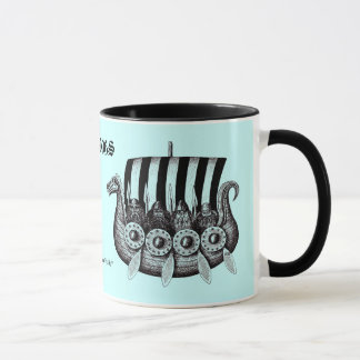 Vikings in Drekar black and white pen ink drawing Mug