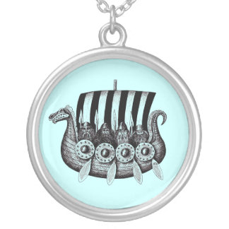 Vikings in Drekar black and white pen ink drawing Necklace