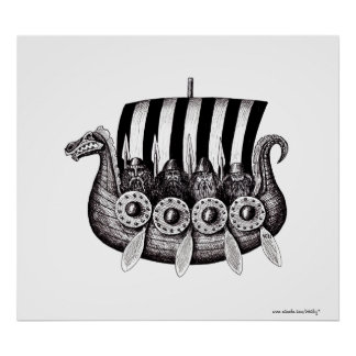 Vikings in Drekar black and white pen ink drawing Poster