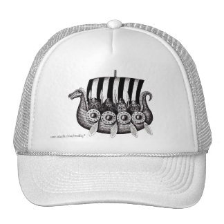 Vikings in Drekar black and white pen ink drawing Trucker Hat