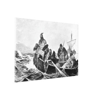 Vikings Landing in Iceland Illustration (1909) Canvas Print