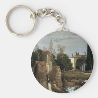 Villa By The Sea by Arnold Bocklin, Symbolism Art Basic Round Button Keychain