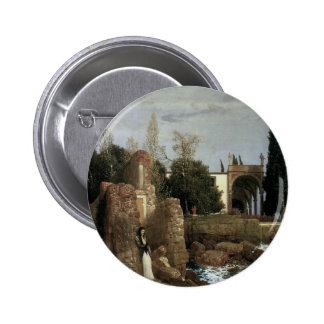 Villa By The Sea by Arnold Bocklin, Symbolism Art 2 Inch Round Button