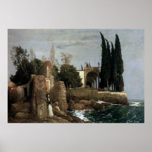 Villa By The Sea by Arnold Bocklin, Symbolism Art Poster