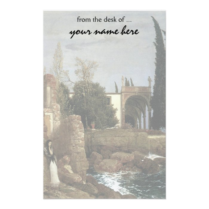 Villa By The Sea by Arnold Bocklin, Symbolism Art Stationery