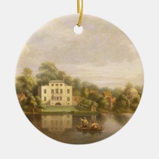 Villa de papa, Twickenham, c.1765 (aceite en lona) Adorno Navideño Redondo De Cerámica