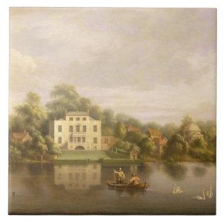 Villa de papa, Twickenham, c.1765 (aceite en lona) Azulejo Cuadrado Grande