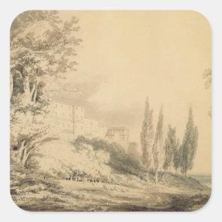 Villa d'Este, c.1796 (blue & grey wash over graphi Square Sticker