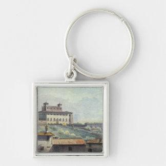 Villa Medici, Rome, c.1776 (oil on paper) Silver-Colored Square Keychain