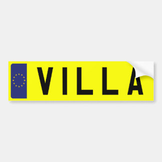 VILLA Number Plate Bumper Sticker