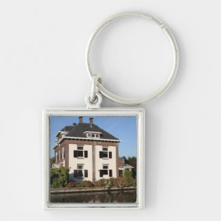 Villa on the bank of the river Vecht Silver-Colored Square Keychain