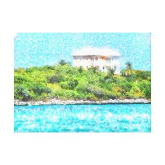 Villa set in greenery in the Bahamas Canvas Print