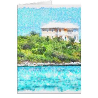 Villa set in greenery in the Bahamas Card