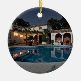 Villa Themed, A Villa Courtyard With Pool At Night Ceramic Ornament