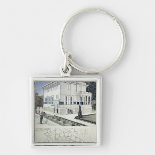 Villa Wagner, Vienna Silver-Colored Square Keychain