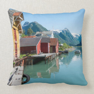 Village and a fjord in Norway throw pillow