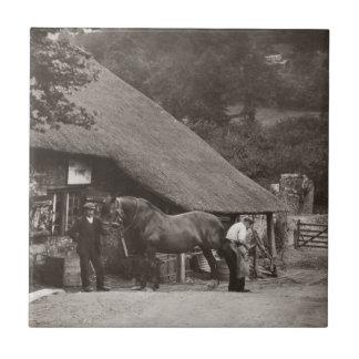 Village blacksmith vintage photo tile