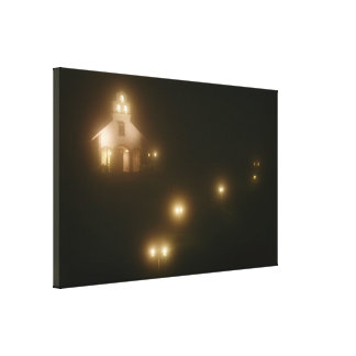 Village Church at Night Stretched Canvas Prints