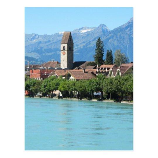 Village, church at Unterseen Postcard