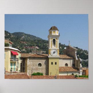 Village Clock Tower, Ville Franche Sur Mer, France Poster