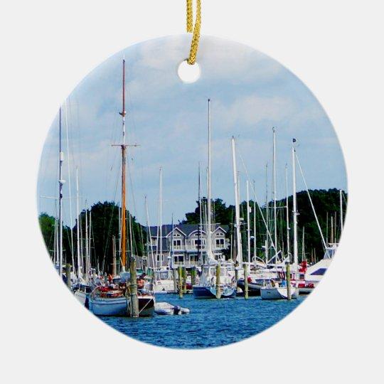 Village Dock at Wickford, RI Ceramic Ornament