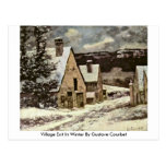Village Exit In Winter By Gustave Courbet Post Card