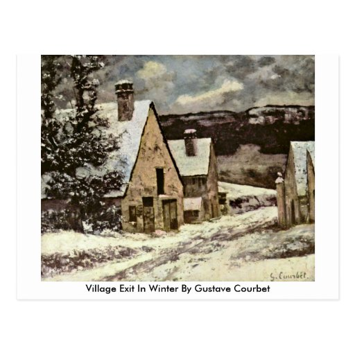 Village Exit In Winter By Gustave Courbet Postcard