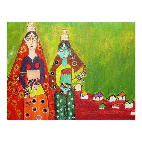Village Girls Postcard