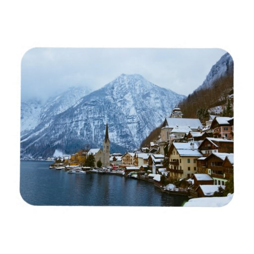 Village Hallstatt On The Lake - Salzburg Austria Vinyl Magnet