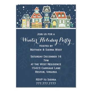 Village Homes Winter Snow Scene Holiday Party Card