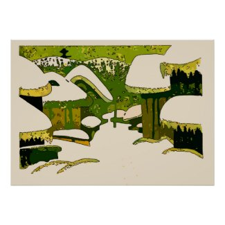 Village In Snow, Abstract Poster