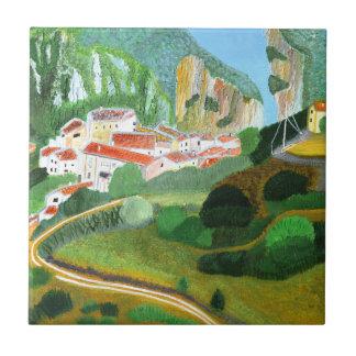 Village in the Mountain Ceramic Tile