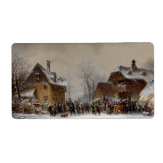 Village in Winter Personalized Shipping Label