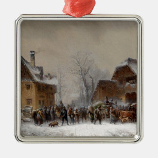 Village in Winter Metal Ornament