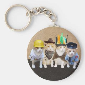 Village Kitties Basic Round Button Keychain