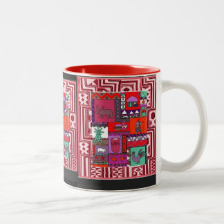 Village life - Aftrican Art Two-Tone Coffee Mug