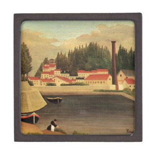 Village near a Factory by Henri Rousseau Jewelry Box