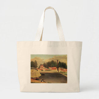 Village near a Factory by Henri Rousseau Large Tote Bag