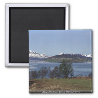 Village of Borkenes, Lofoten Islands, Norway 2 Inch Square Magnet